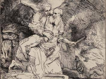 Rembrandt, Abraham's Sacrifice, 1655 B. 35, I/I (White & Boon only state); H. 283 Etching on laid paper with pen and ink ruled lines 6 1/8 x 5 ¼ in.