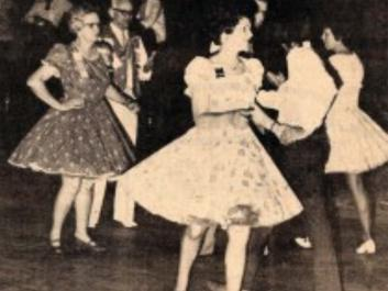 This photograph courtesy of the Rabun County Historical Society shows Square Dancing at the Mountain City Playhouse, c. 1970.