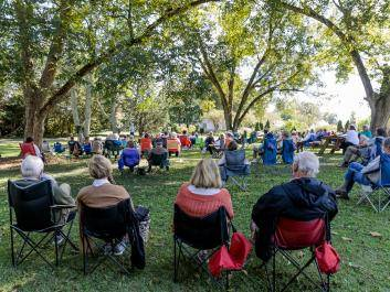 Stories in the Garden, a signature event, held in the pecan grove.