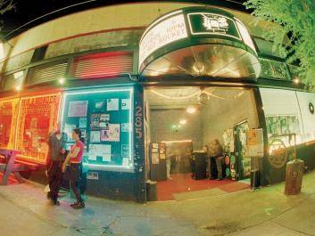 40 Watt Club, on the corner of Washington St. & Pulaski in downtown Athens, lights up the night