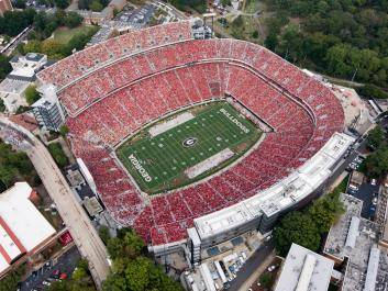 Sanford Stadium is a sea of red on home football Saturdays.