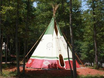 Frontview of Dream Catcher Teepee - Bear Clan:  sleeps up to 5, 1 Queen, 1 bunk (twin/full).