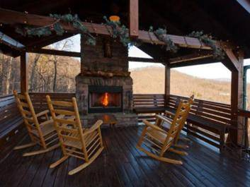 All About the View: Outdoor fireplace overlooking the mountain tops
