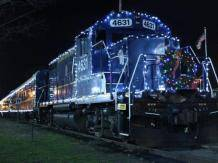 Blue Ridge Scenic Railway decorated in holiday lights