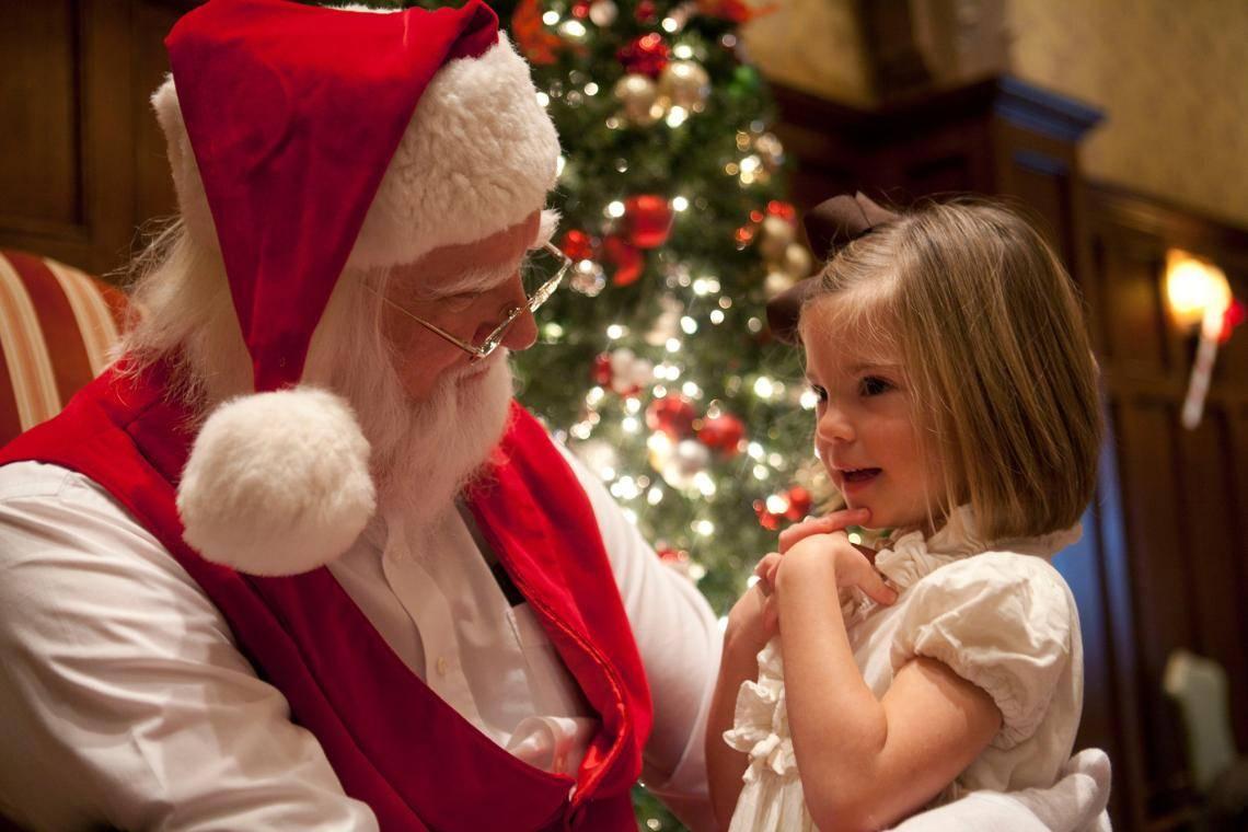Santa and young girl