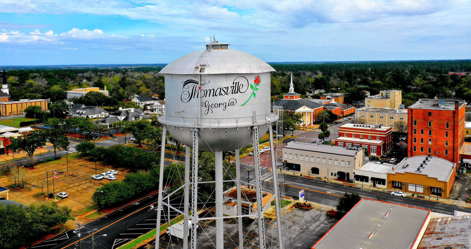 Aerial view of downtown Thomasville's water tower