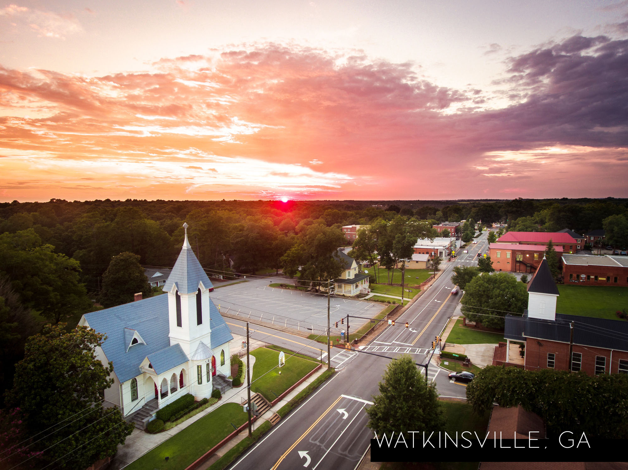 Sunset over Watkinsville-Oconee County. Photo by Chris Greer, @upabovegeorgia